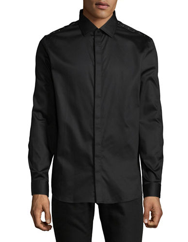 Karl Lagerfeld Studded Trim Fly Front Shirt-BLACK-X-Large