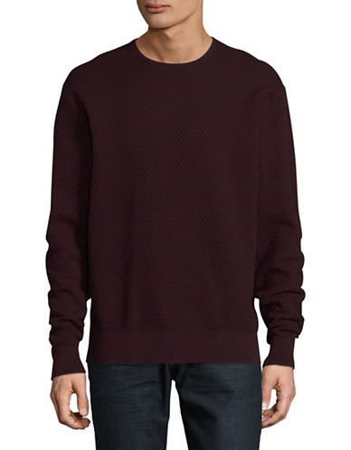 Karl Lagerfeld Honeycomb Crewneck Sweater-RED-Medium