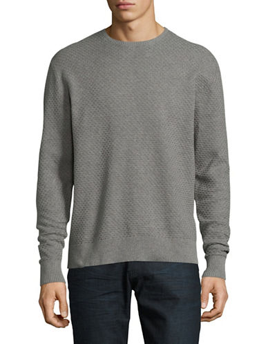 Karl Lagerfeld Honeycomb Crewneck Sweater-LIGHT GREY-X-Large