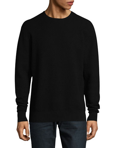 Karl Lagerfeld Honeycomb Crewneck Sweater-BLACK-Medium