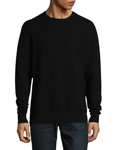 Karl Lagerfeld Honeycomb Crewneck Sweater-BLACK-Large