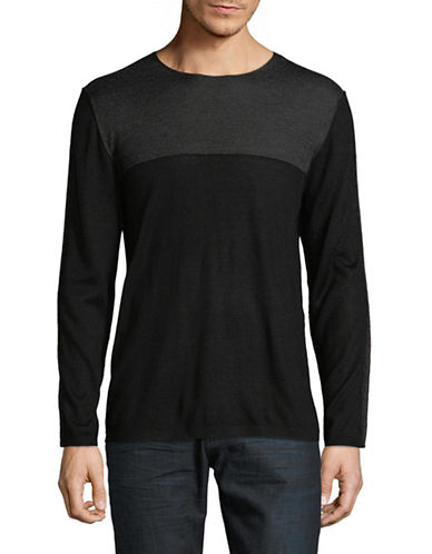 Karl Lagerfeld Lightweight Taped Sleeve Pullover-BLACK-X-Large 89493869_BLACK_X-Large
