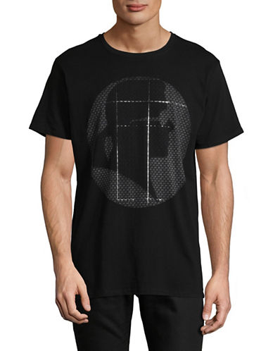 Karl Lagerfeld Karl Head Foil Graphic T-Shirt-BLACK-Small