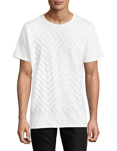 Karl Lagerfeld Geometric Graphic T-Shirt-WHITE-Large