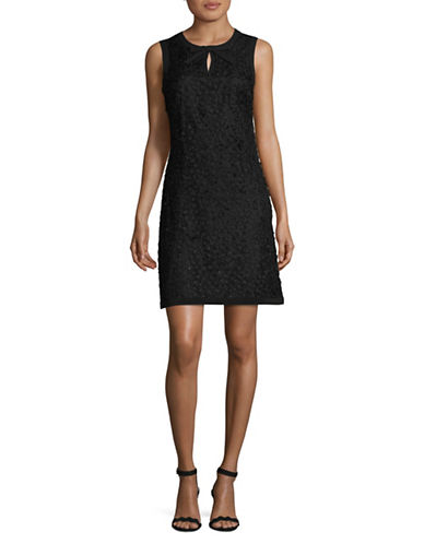 Karl Lagerfeld Paris 3-D Flower Shift Dress-BLACK-10