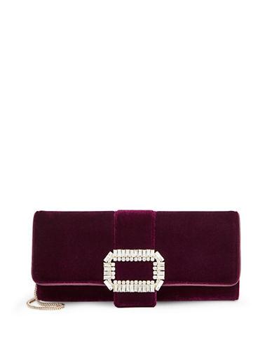 Karl Lagerfeld Paris Paulene Velvet Clutch-RED-One Size
