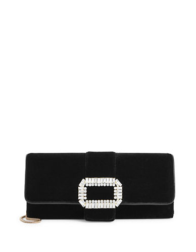 Karl Lagerfeld Paris Paulene Velvet Clutch-BLACK-One Size