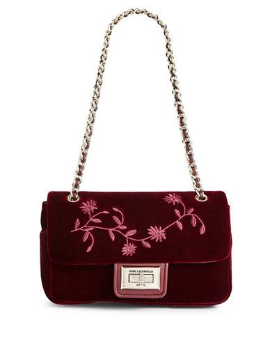 Karl Lagerfeld Paris Agnyess Velvet Shoulder Bag-MERLOT-One Size