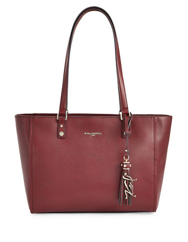 Karl Lagerfeld Paris Elise Leather Tote-MERLOT-One Size