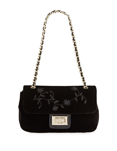 Karl Lagerfeld Paris Agnyess Velvet Shoulder Bag-BLACK-One Size