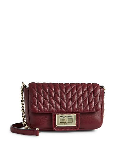 Karl Lagerfeld Paris Agnyess Leather Crossbody Bag-MERLOT-One Size