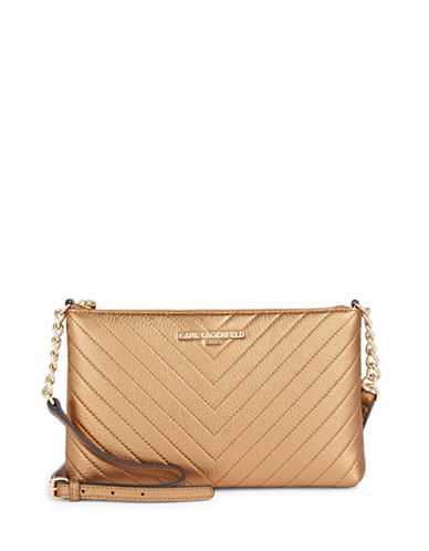 Karl Lagerfeld Paris Charlotte Leather Crossbody Bag-COPPER-One Size