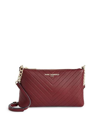 Karl Lagerfeld Paris Charlotte Leather Crossbody Bag-MERLOT RED-One Size