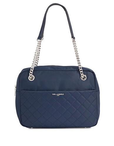 Karl Lagerfeld Paris Solange Quilted Shoulder Bag-BLUE-One Size