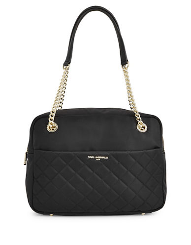 Karl Lagerfeld Paris Solange Quilted Shoulder Bag-BLACK-One Size