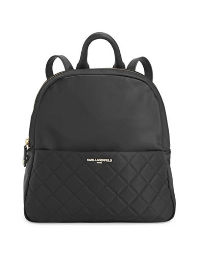 Karl Lagerfeld Paris Solange Quilted Backpack-BLACK-One Size
