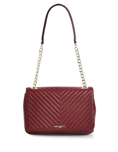 Karl Lagerfeld Paris Charlotte Quilted Crossbody Bag-MERLOT RED-One Size