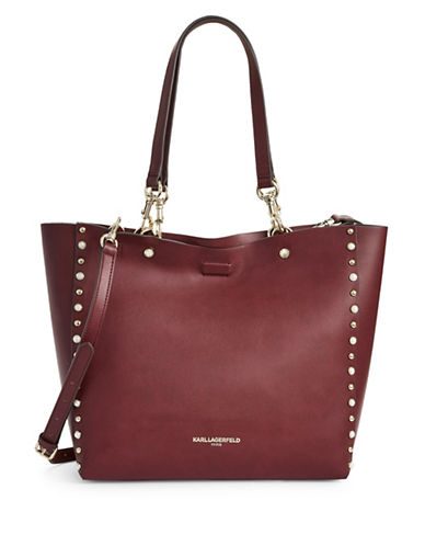 Karl Lagerfeld Paris Adele Shopper Bag-MERLOT RED-One Size