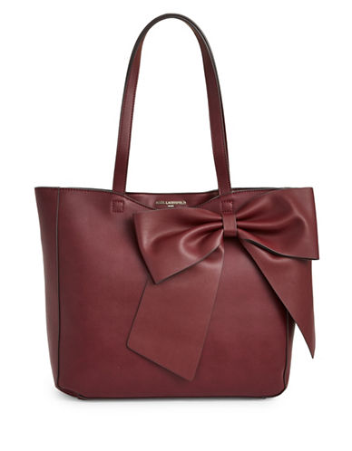 Karl Lagerfeld Paris Canelle Bow Tote Bag-MERLOT RED-One Size