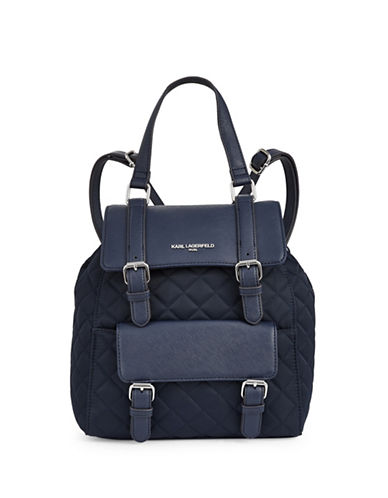 Karl Lagerfeld Paris Georgina Quilted Backpack-NAVY-One Size