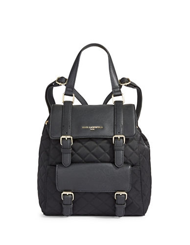 Karl Lagerfeld Paris Georgina Quilted Backpack-BLACK-One Size