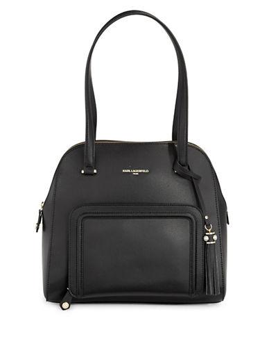 Karl Lagerfeld Paris Lisa Leather Satchel-BLACK-One Size