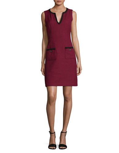 Karl Lagerfeld Paris Contrast Tweed Sheath Dress-BURGUNDY-12