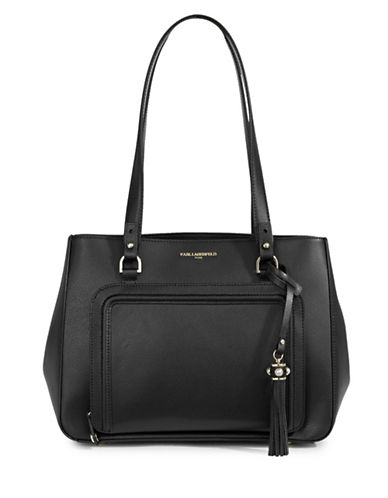 Karl Lagerfeld Paris Lisa Pebbled Tote-BLACK-One Size