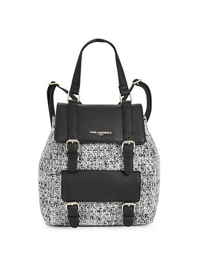 Karl Lagerfeld Paris Georgina Tweed Backpack-BLACK/WHITE-One Size