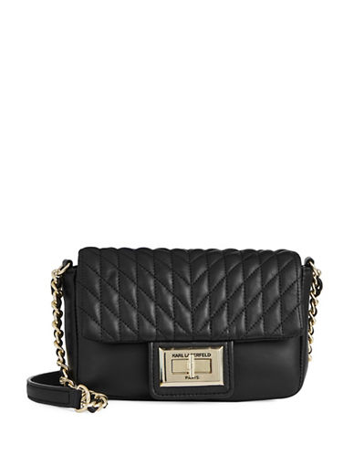 Karl Lagerfeld Paris Agnyness Quilted Crossover Bag-BLACK-One Size