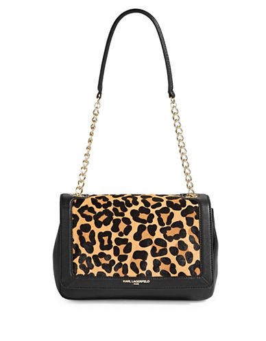 Karl Lagerfeld Paris Agnyness Leopard Crossover Bag-GREY-One Size