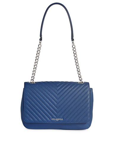Karl Lagerfeld Paris Charlotte Quilted Crossbody Bag-COBALT-One Size