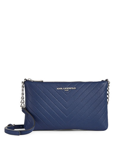 Karl Lagerfeld Paris Charlotte Leather Crossbody Bag-COBALT-One Size