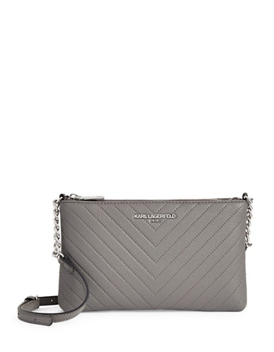 Karl Lagerfeld Paris Charlotte Leather Crossbody Bag-ASPHALT-One Size