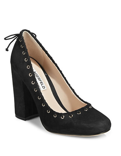 Karl Lagerfeld Paris Suger Laced Suede Pumps-BLACK-9