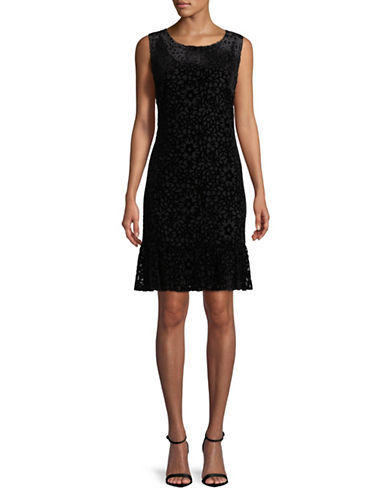 Karl Lagerfeld Paris Sleeveless Velvet Dress-BLACK-12