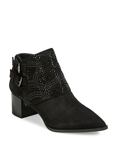 Karl Lagerfeld Paris Asasha Jeweled Leather Booties-BLACK-9
