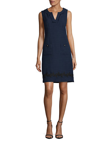 Karl Lagerfeld Paris Lace Trim Tweed Shift Dress-BLUE-6