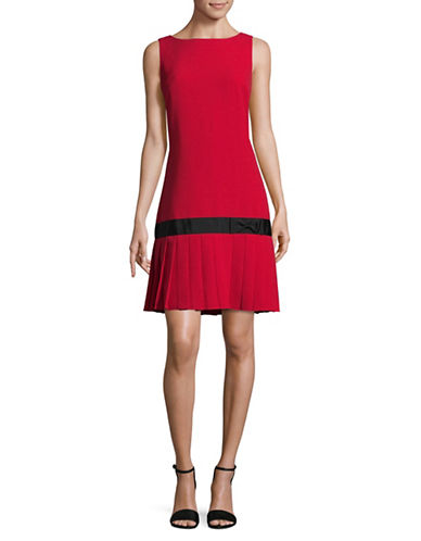 Karl Lagerfeld Paris Pleated Drop-Waist Flare Dress-RED-6