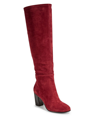 Karl Lagerfeld Paris Tulle Leather Knee-High Boots-RED-10