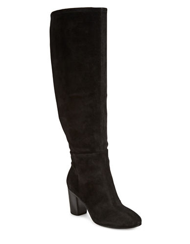 Karl Lagerfeld Paris Tulle Leather Knee-High Boots-BLACK-9