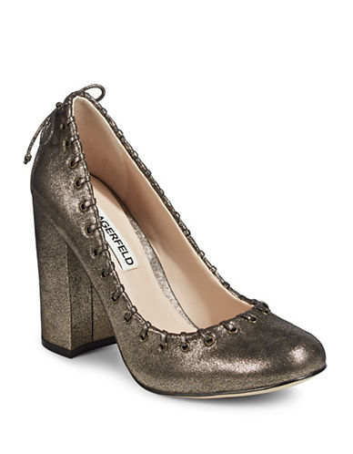 Karl Lagerfeld Paris Suger Laced Pumps-BRONZE-7