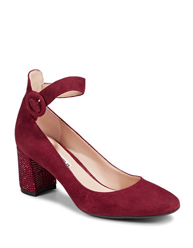 Karl Lagerfeld Paris Solaine Suede Ankle-Strap Pumps-RED-7.5