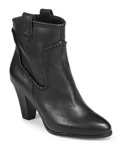 Karl Lagerfeld Paris Provence Western Ankle Boots-BLACK-7.5