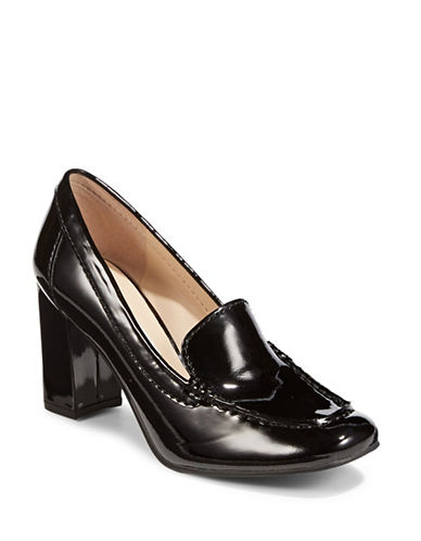 Karl Lagerfeld Paris Keena Patent Leather Heeled Loafers-BLACK-5.5