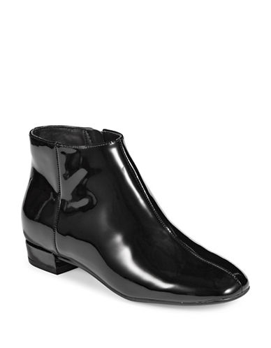 Karl Lagerfeld Paris Patent Leather Ankle Booties-BLACK-8.5