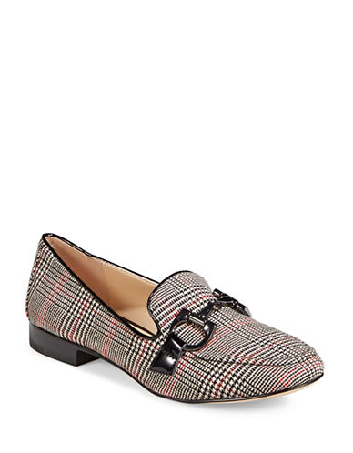 Karl Lagerfeld Paris Tartan Loafers-RED-8.5