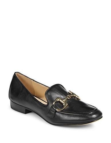 Karl Lagerfeld Paris Beya Leather Loafers-BLACK-9.5