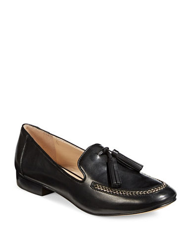 Karl Lagerfeld Paris Chain Leather Loafers-BLACK-7.5