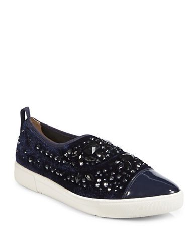 Karl Lagerfeld Paris Arden2 Embellished Point-Toe Sneakers-NAVY-9